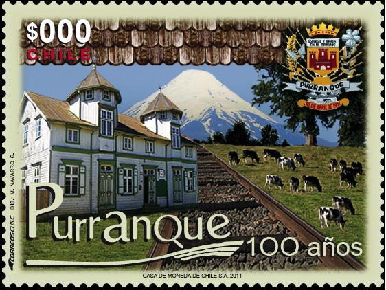 Sello postal en el Centenario de Purranque