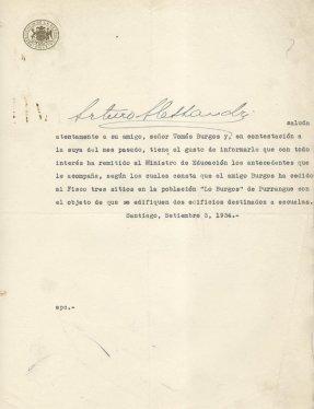 Carta del Presidente Arturo Alessandri Palma a don Tomás Burgos Sotomayor.