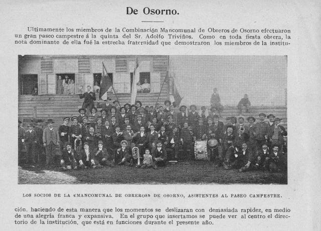 Combinación Mancomunal de Obreros de Osorno en el año 1909
